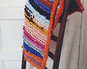 "25"" square colorful rag rug"