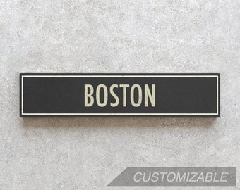 BOSTON City Sign - Hand Painted on Wood