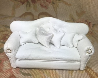 White Leather Sofa With Pillows - By Pat Tyler Leather Dollhouse Miniatures