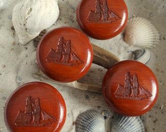 Cabinet knob 4 x sailing ship Brig mahogany stain - furniture knobs - sailing ship