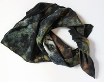 Small Square Hand Dyed Crepe de Chine Scarf - Black Rust Blue Bronze - Silk Kerchief - Hand Dyed Shibori Silk Scarf - Abstract Scarf