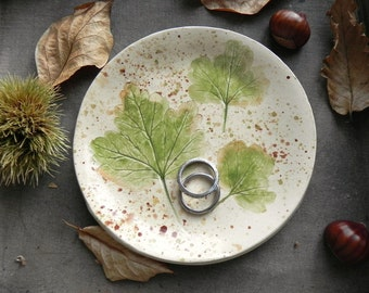 Fall Leaves Ceramic Ring Dish Rustic Small Pottery Plate Autumn Jewelry Dish