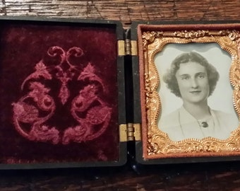 Antique Thermoplastic Union Case Picture Frame with Photo of Young Woman 1/9th Plate