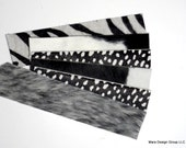 cuff bracelet blanks - black and white mix- hair on hide - set of six, set #1
