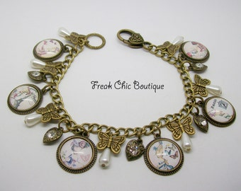 Marie Antoinette Charm Bracelet,  Picture Cabochons, Marie Antoinette Jewelry, Whimsical, Queen, France
