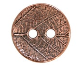 3 TierraCast Round Leaf 5/8 inch ( 17 mm ) Two-Hole Copper Plated Pewter Buttons