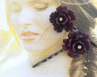 Decorative Hair Pins Jewelry 1940's Purple Rose Woodland Wedding Bobby Hairpins