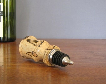 Wine bottle stopper made from spalted maple wood, wood turned bottle stopper