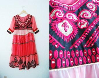Vintage STUNNING Beaded Color Block Ethnic Dress Tribal Aztec Pink Sari Party