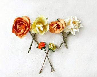 Flower Bobby Pins, Yellow + Orange, Paper Hair Flowers, Hair Pin Set, Yellow Flower Hair Clips, Orange Bobby Pins, Wedding Hair Accessories