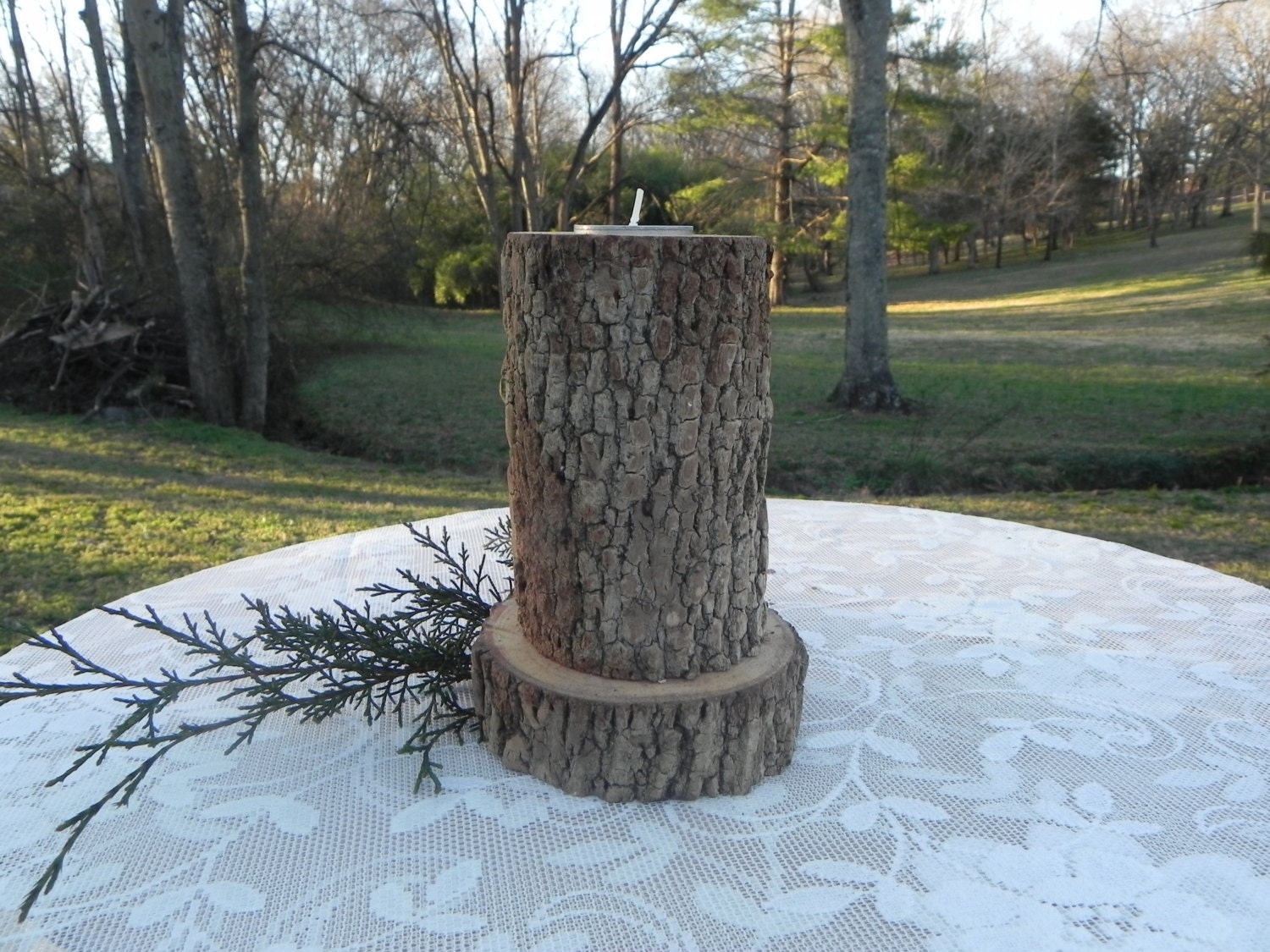 Rustic Wood Candle Holder Wedding Centerpiece Country Candle