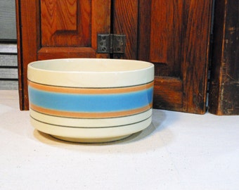 Vintage Cookson Pottery Planter Bowl with Blue and Peach Stripe