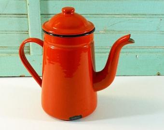 Vintage Orange and Black Enamel Coffee Pot Teapot