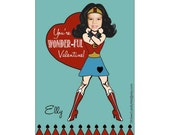 Custom Wonder Girl Photo Valentine Card, Digital File Valentine Card, OhSewCuteByMel Valentine Card
