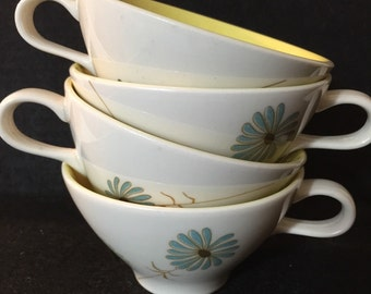 Teacups Lazy Daisy Informal China Iroquois Mid Century Blue Ben Seibel Design Set of 4 Four