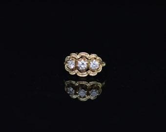 Beautiful, Ladies, Vintage, 18k, Yellow, Gold, 3 Stone, Diamond, Ring