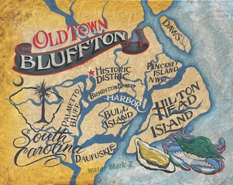 Bluffton SC coastal map  Print