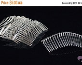 ON SALE Platinum Tone Wire Hair Combs - 5pcs - Platinum Hair Combs
