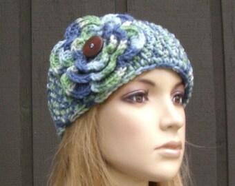 Crochet Flower Head Wrap Headwrap Ear Warmer Winter Knit Blue Green with Wood Buttons