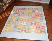 Full Size Quilt- Ready to ship quilt, Blue Quilt, Pink Quilt, Bird Quilt, Hourglass Quilt, Yellow Quilt, One of a kind Quilt