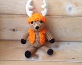 "Baby Deer Antler Amigurumi - Deer Stuffed Toy Animal - Stocking stuffer Deer Plushie - Newborn Photo Prop - Mini ""Dodge"" Whitetail Deer - Or"
