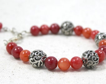 Tangerine and Red Dyed Jade Ruby and Silver Beaded Bracelet