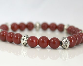 Dark Red Glass Bead Stretch Bracelet with Silver Plated Accent Beads / Gifts under 20