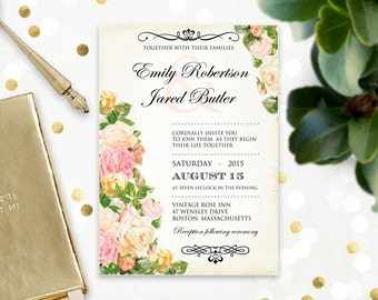 Floral Printable Wedding Invitation Peach & Pink Rustic Flowers Vintage Weddings Invite - EDITABLE pdf INSTANT DOWNLOAD - Shabby Chic Roses