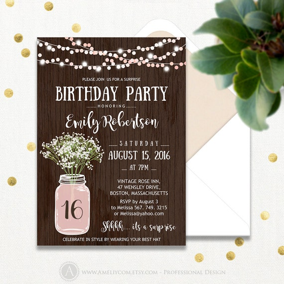 Surprise Fall Birthday Party Invitations Printable Rustic – Fall Birthday Party Invitations