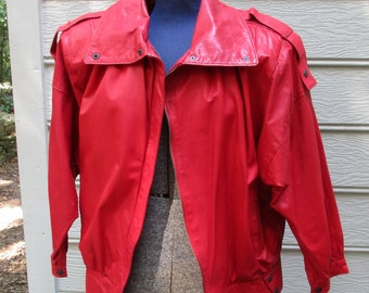 Red Leather jacket Michael Jackson style padded shoulders snaps zipper front PRICE REDUCTION