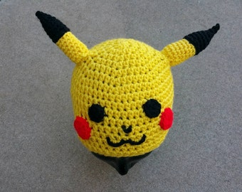 Crocheted Pikachu Inspired Beanie