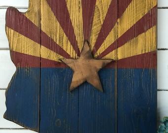 Barn Wood Style Arizona Flag, Rustice Arizona Flag, Americana Flag, Arizona Flag, Americana Decor, Primitive Arizona Flag,Arizona State Flag