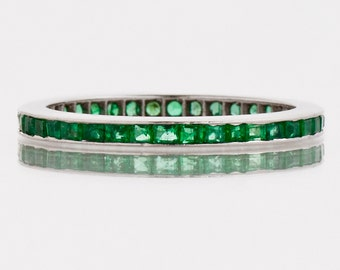 Antique Band- Antique 1930's 18k White Gold Emerald Eternity Band