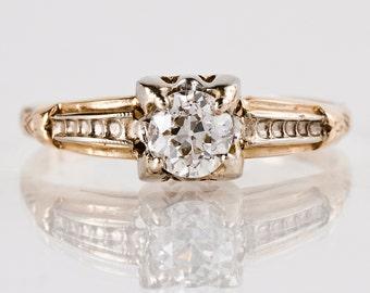 Vintage Engagement Ring - Vintage 14K Rose and White Gold Diamond Engagement Ring