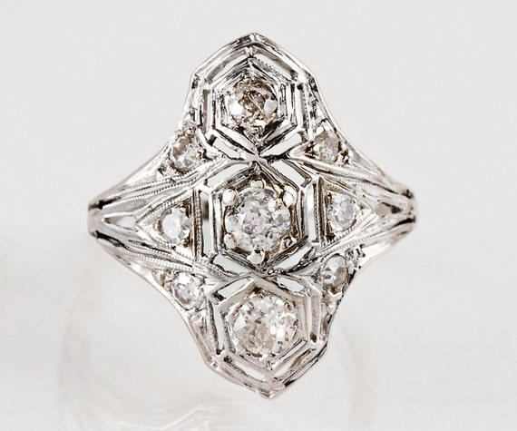 Antique Ring - Antique Platinum and 14k White Gold Diamond Filigree Ring