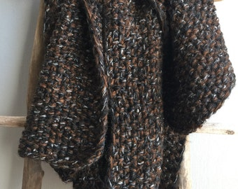 Knit scarf, Chunky Knit Scarf, Chunky Scarf, Brown Scarf, Winter Scarf, Oversized Scarf, Mens Scarf, Black Scarf, Big Cozy Wrap
