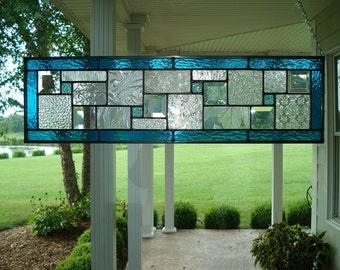 Stained Glass Panel Deep Aqua Blue Window Transom