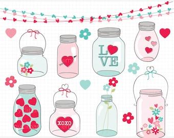 Clipart - Valentine Masson Jars Clipart  - Digital Clip Art (Instant Download)
