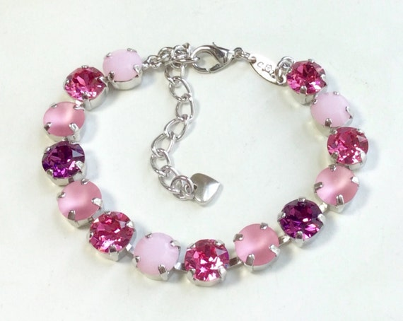 "Swarovski Crystal 8.5mm Bracelet -  ""Summer Sunset""  Radiant Colors - Perfect Bridesmaid Gift ! - Designer Inspired - FREE SHIPPING"