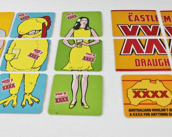Australian XXXX Castlemaine Beer Coasters, Including 4 Puzzles, Barware, Beer