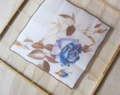 Small silk scarf hand painted Blue rose Walentines gift Home decor - made TO ORDER