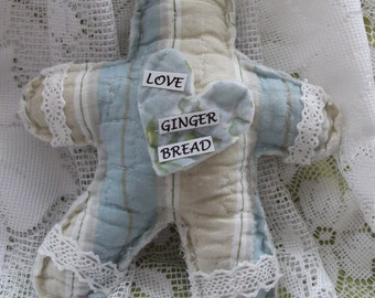 Country Cottage Shabby Chic Gingerbread Christmas Ornament, rag cut, quilt