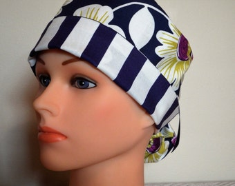 Blue and White strip with Chevron Brim Pony Tail  Style Surgical Hat
