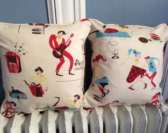 """NEW! Retro Bobby Sock Rock Pillow Cover With Piping Envelope Back Cotton for 16"""" - 17"""""""