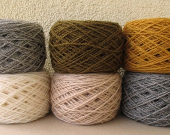 300 g of 100% wool yarn various Autumn color box for knitting  yarn N 8/2 moss green white gray beige mustard colors