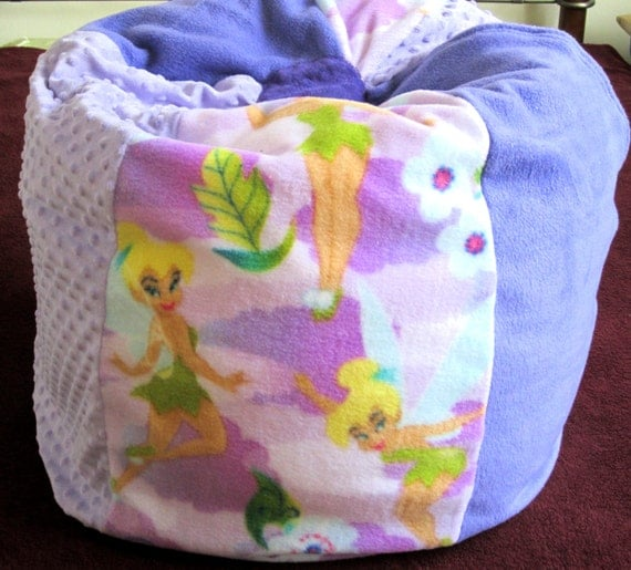 Tinkerbell bean bag chair with name sale price immediate for Kids chair with name