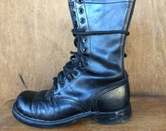 Womens 8 Manufacturing Size 7.5 M Corcoran Quality jump boots black leather lace up combat work boots