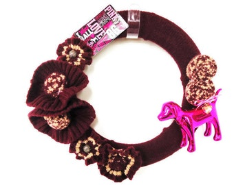 PINK DOG Ornament Wreath Wine and Mocha Wreath Wool Up Cycled Sweater Knitted Wreath