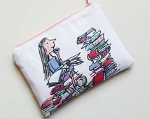 Matilda Roald Dahl books reading inspired purse clutch