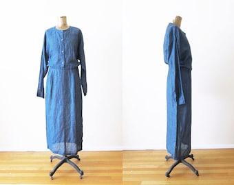 Linen Dress / Vintage Calvin Klein Dress / Blue Linen Long Sleeve Maxi Dress / Minimalist Clothing